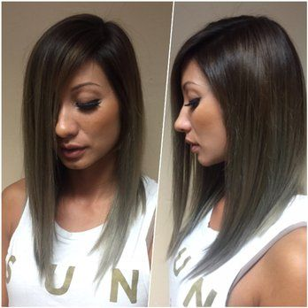 Monica Sidebar styling a Long A-Line Bob haircut along with Dark Smokey Brown all over color | Yelp