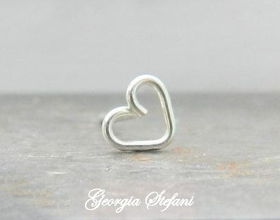 I handform this tiny open heart nose stud by sterling silver wire 18g, 20g or 22g, It has a high polished finish.    It can be use as a nose,