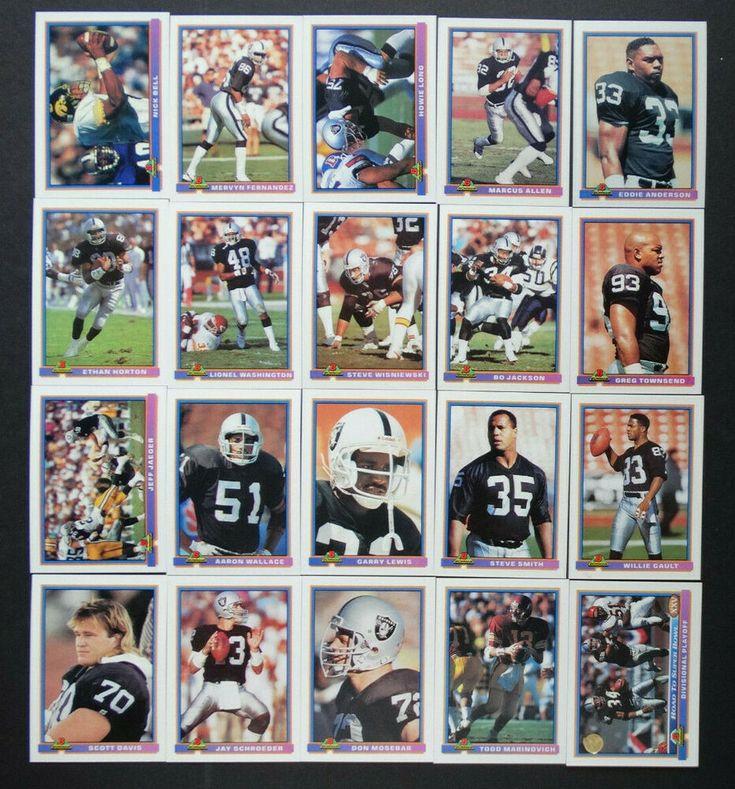 1991 bowman los angeles raiders team set of 20 football