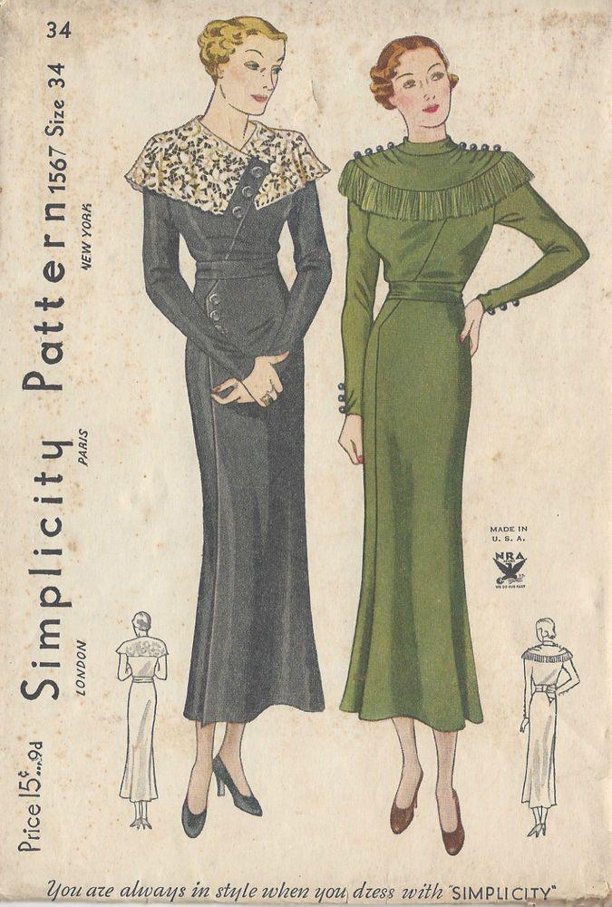 "1930s Vintage Sewing Pattern DRESS B34"" (R589)"