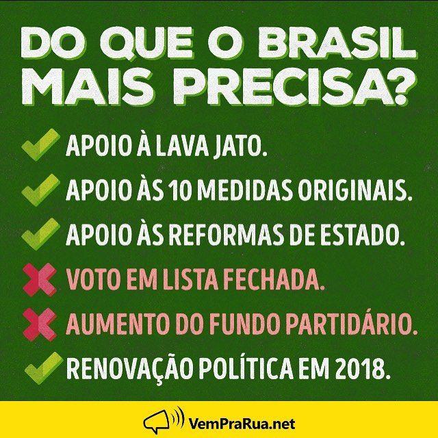 """508 curtidas, 15 comentários - Vem Pra Rua Brasil (@vemprarua_br) no Instagram: """"O Congresso não pode parar. O Brasil precisa se modernizar, ir pra frente e gerar mais…"""""""