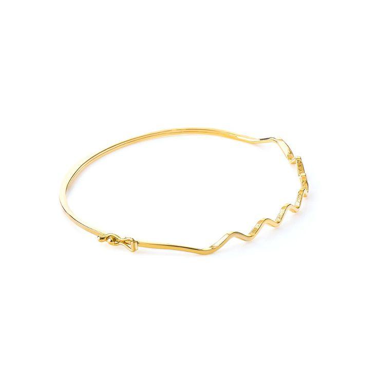 Pulseira em Ouro 18k Bracelete Algema Detalhe Ondas pu03908 - Joiasgold