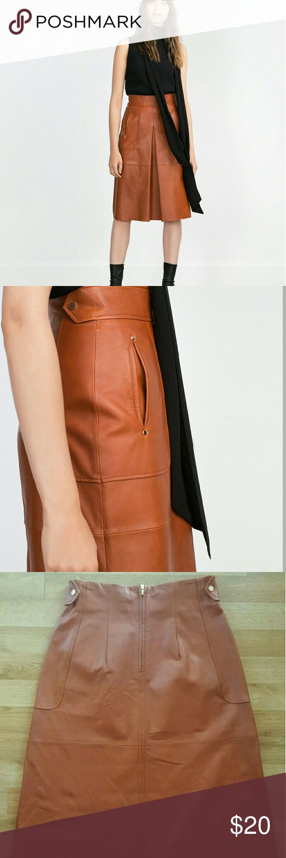 ZARA Brown Leather Skirt Beautiful camel brown color. Great Condition! 100% Sheep leather. Knee length. A-line. Zara Skirts