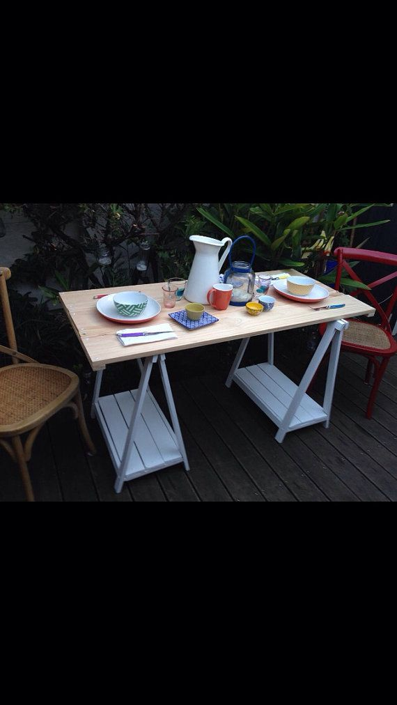 Trestle Table 120cm: Smooth Pine Removable Top