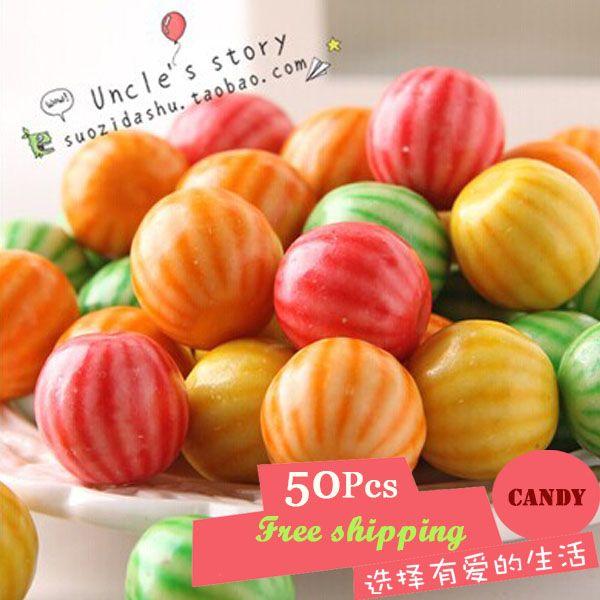 Купить товарАрбуз жевательная резинка пузырь конфеты свободного покроя закуски еда сладости и конфеты еда 4 g * 50 шт 2F288 в категории  на AliExpress.