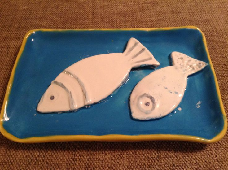 My first plate with fish. Hand built, glazed ceramic plate made in Ceramicafe, Budapest
