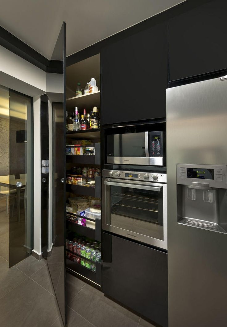 ♂ Masculine & contemporary interior metal black kitchen design Home & Decor Singapore. Such a cool pantry idea.