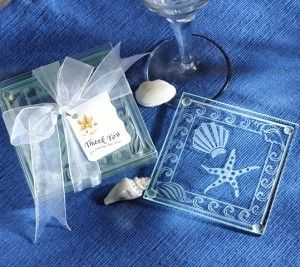 Seashell and Starfish Frosted Glass Coaster Set