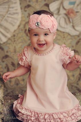 Duchess Juliet Flower Headband in Baby Pink