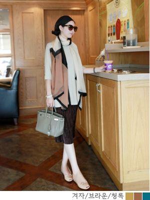 korean fashion online store [COCOBLACK] two tone silk scarf / Size : FREE / Price : 38.12 USD #silk #scaf #muffler #korea #fashion #missy #missylook #fashionshop #shopping #style