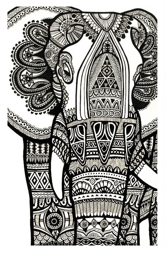 coloriage anti stress elephant à imprimer