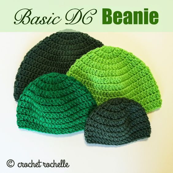 Basic DC Beanie Pattern in 10 sizes (newborn-adult XL) Aran weight yarn, 5.5mm hook).