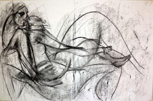 Superposition d'images au fusain sur format grand aigle.