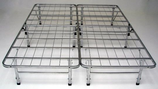 """Queen size Bedder Base complete folding mattress support system platform bed frame .   With this mattress support system you do not have the need for a Box spring or bed frame, all you need is your Mattress and this Bedder Base mattress support system.  Features spacious under bed storage over 14"""" H.  Quality steel construction - Heavy duty cross bars & wire mesh, , with an attractive silver powder coat finish.  This unit can fold away when not in use and takes up very little space. ..."""