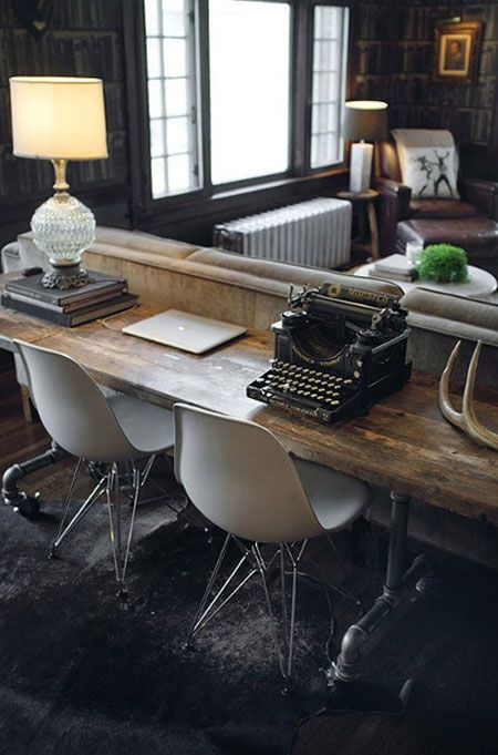 love the rustic, modern, industrial desk. Also, there is a link on here for no sew roman shades