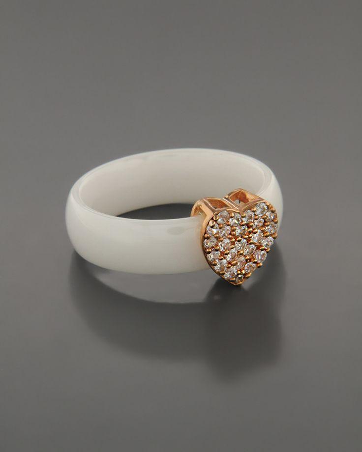 Κεραμικό Δαχτυλίδι με ασημένια Καρδιά απο Ζιργκόν