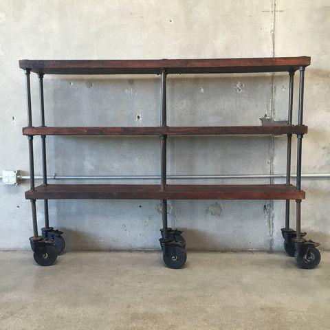 Vintage Iron / Wood Industrial Shelf Unit on Casters – UrbanAmericana