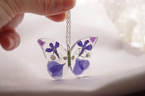Blaue Schmetterling Collier  echte Blume Schmuck von PassionOfLight
