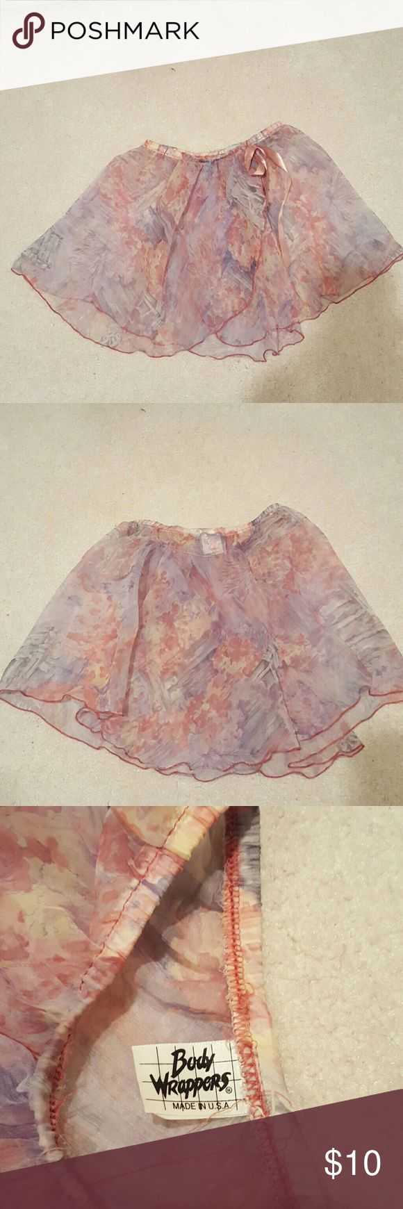 Girls Ballet Skirt Beautiful sheer floral wrap around ballet skirt with elastic waist and side bow beautiful flowing fabric is perfect for any ballerina ..girls Size medium/large Body Wrappers  Costumes Dance