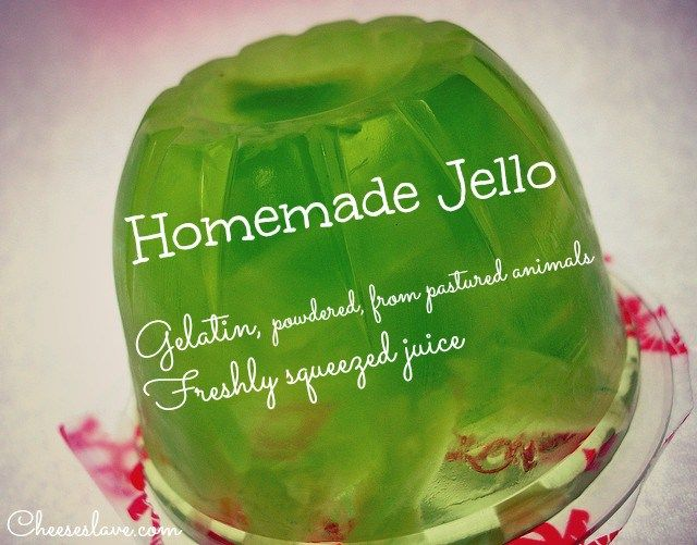 Jello reminds me of my childhood. I grew up eating Jello made from a box. I even remember when I was about 12, I used to make it for my mom. I remember stirring the powder into the water and letting it set in the fridge overnight.  It turns out Jello is actually good for you. It's made from the bones and hides (skins) of cows and pigs. Rich in collagen, jello actually gives you beautiful skin, and strong bones, teeth, and cartilage.