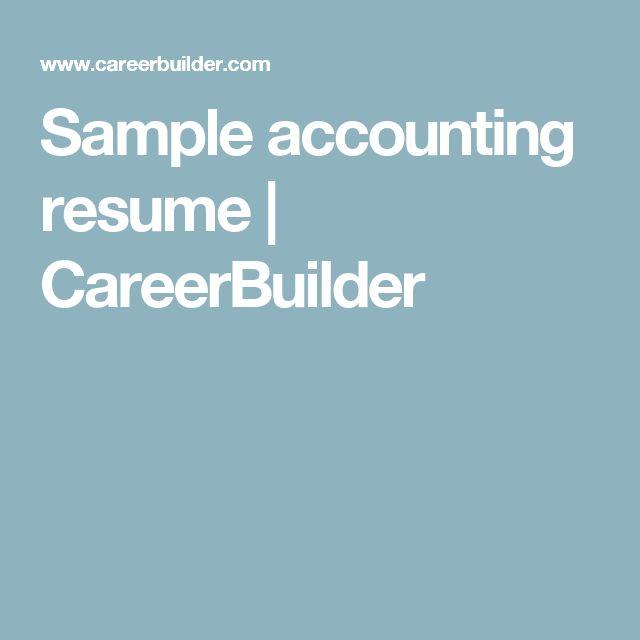 Sample accounting resume | CareerBuilder