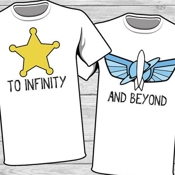 Disney par hierro en - Woody y Buzz - al infinito y más allá de t-shirt Transfer imprimible - parejas coincidentes shirt - camisas de vacaciones de la familia