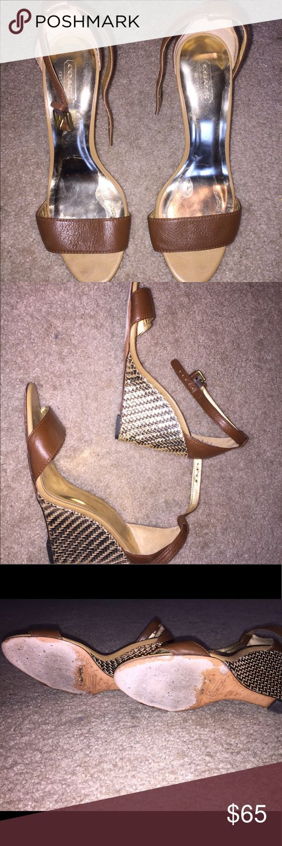 Gold & Brown Coach Wedge Heels Coach wedges - Gold wedge heel with Brown leather. I wore these to prom and to a sorority formal event. They have some wear but are still very cute and wearable. They never fit me quite right - I'm half a size too small. Tags for exposure: Cole Haan, Steve Madden, Jeffery Campbell, Sam Edelman Coach Shoes Heels