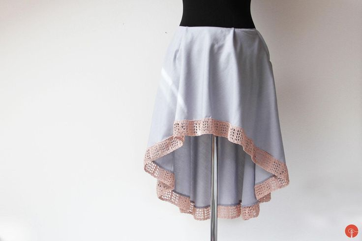 I sewed this asymmetrical skirt with handmade crochet lace. You can find the crochet lace pattern in an older post.