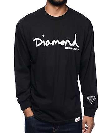 diamond supply co og script black long sleeve t shirt