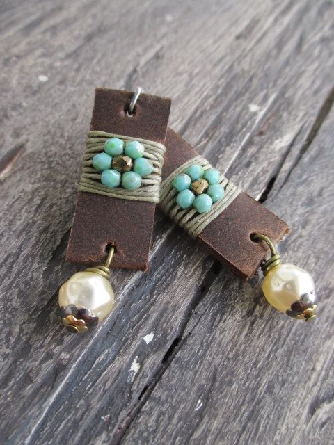 cool Leather earrings - Flower Child - distressed leather pearl dangle sterling silver rustic fall earrings boho chic by slashKnots slash knots