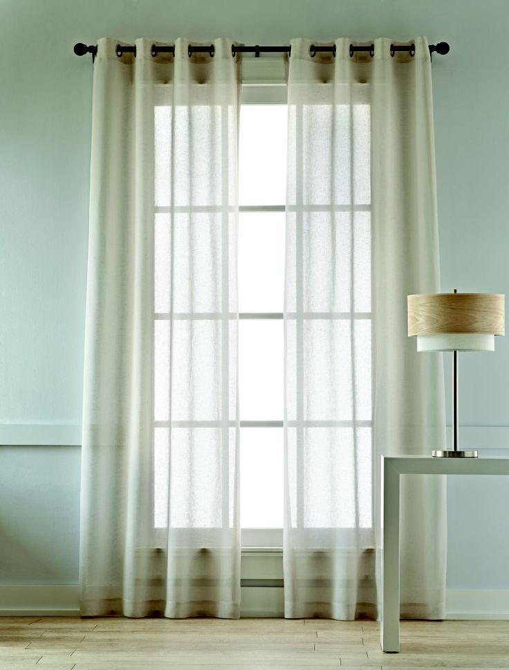 Studio cotton linen grommet top sheer panel curtains