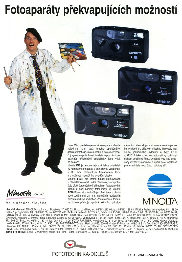 Časopis FOTOGRAFIE-MAGAZÍN,  cca 1994/95, Fototechnika Dolejš - Smluvní partner MINOLTA Zadavatel inzerce: Minolta s.r.o. Formát: A4