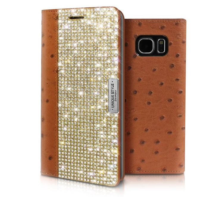 Galaxy S6 Wanna Be Unique Real Leather Crystal Cubic Case