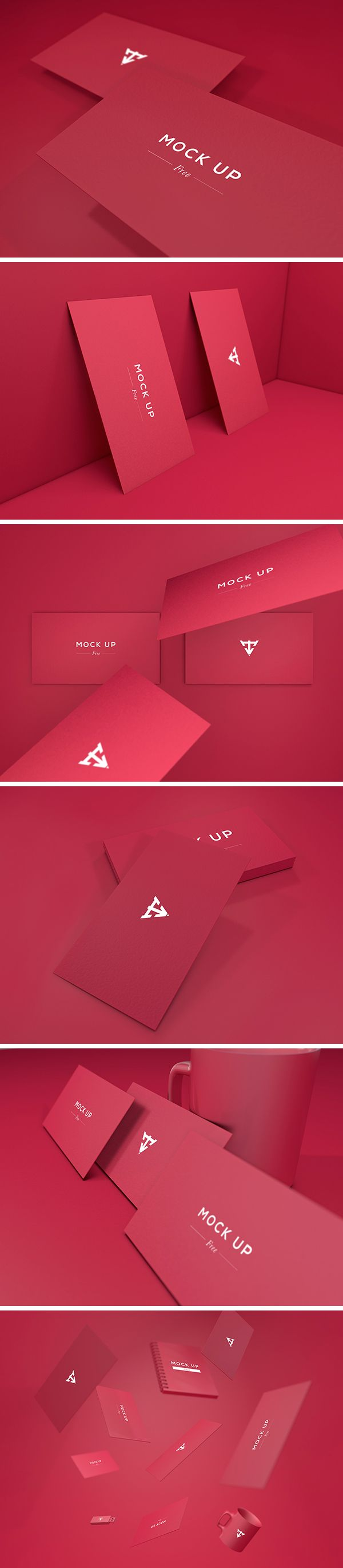 6 Business Cards MockUp :: free download (graphicburger)