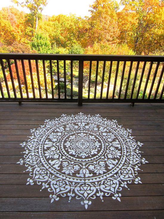 Cutting Edge Stencils shares how to stencil a deck using a large Prosperity Mandala Stencil pattern. http://www.cuttingedgestencils.com/prosperity-mandala-stencil-yoga-mandala-stencils-designs.html