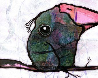 Illustrazione originale di uccello pittura tecnica di JessicaKoppe