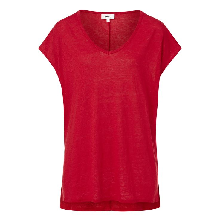 Linen V-Neck Tee. Comfortable style features V-Neckline and slight hi-lo hem. Available in various colours as shown.
