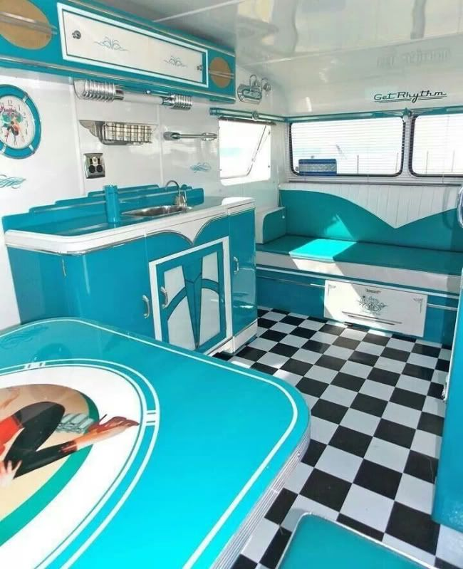 """Gorgeous! 1956 Southland Runabout """"Get Rhythm"""" Blue   Tiny trailer - vintage camper - travel caravan <O> #interior #turqouise"""