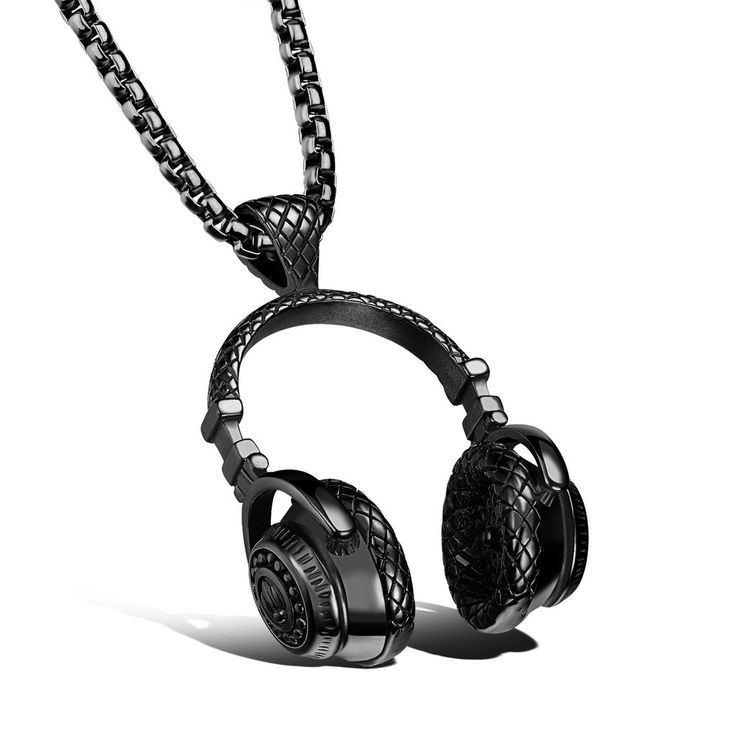 Stainless Steel Music Headphones Pendant Necklace Collar Male