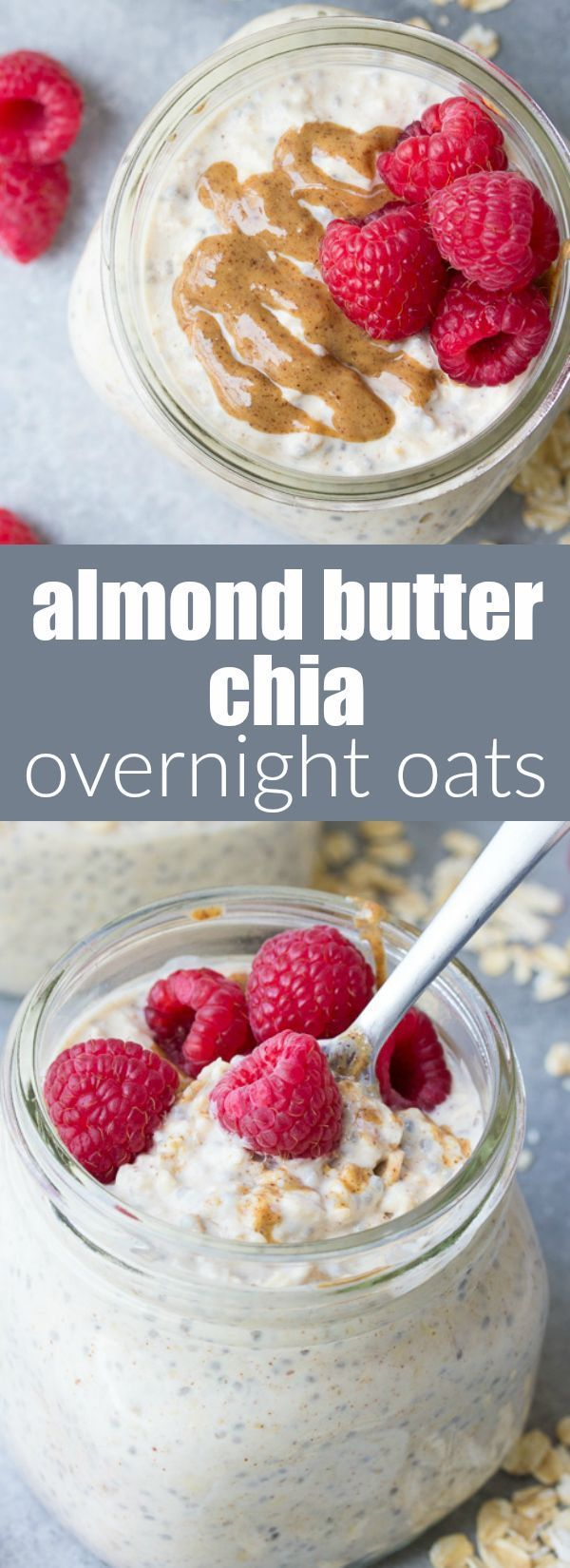 High Protein Chia Almond Butter Overnight Oats are the ultimate healthy breakfast! I like to ...