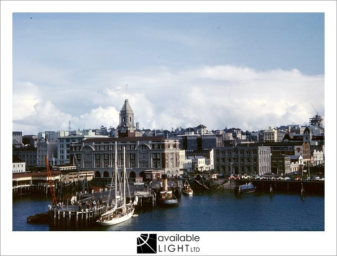 1963 - Princes Wharf and city seen from the deck of the cruise ship Northern Star