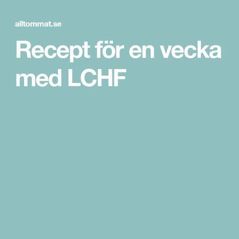Recept för en vecka med LCHF
