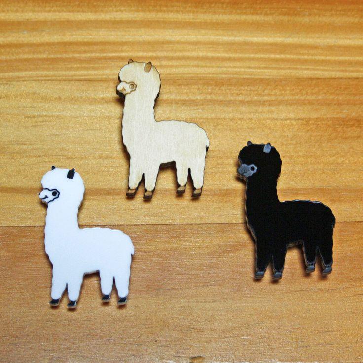 Laser Cut Brooch Cute Alpaca white, black, blue or wood by TallRabbit on Etsy https://www.etsy.com/listing/89054798/laser-cut-brooch-cute-alpaca-white-black