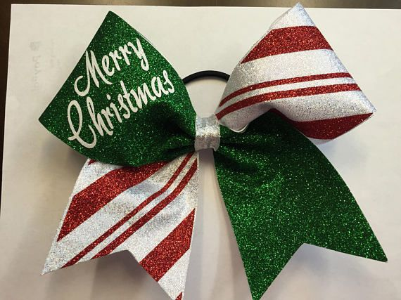 Holiday Christmas Striped Personalized Cheer Cheerleading Bow. Merry Christmas cheer bows. Cheer coach. Holiday party. Ugly sweater party, cheer hair bow!