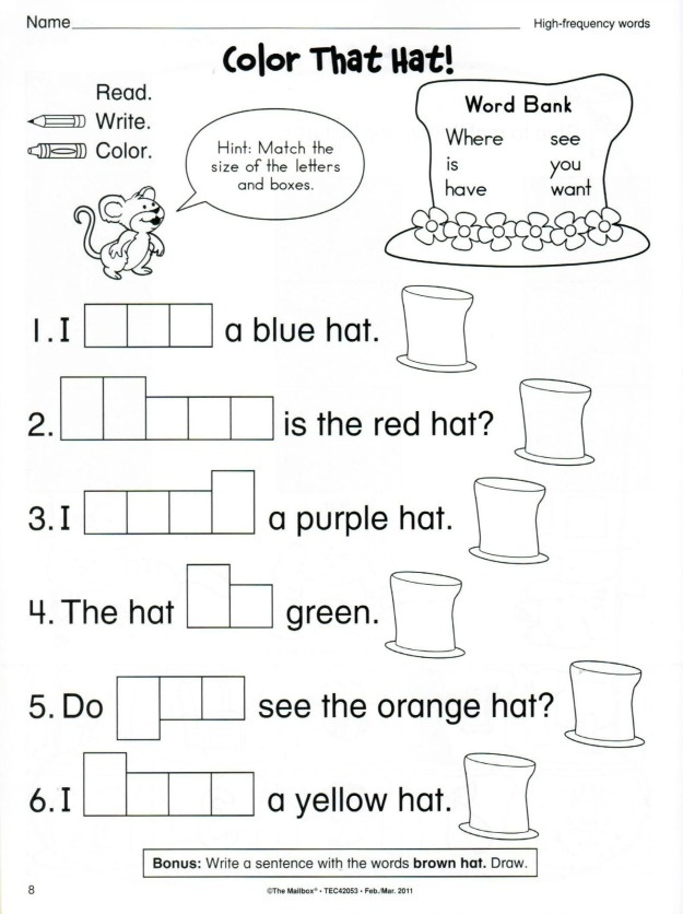 Worksheets. Cat In The Hat Worksheets. Chicochino ...