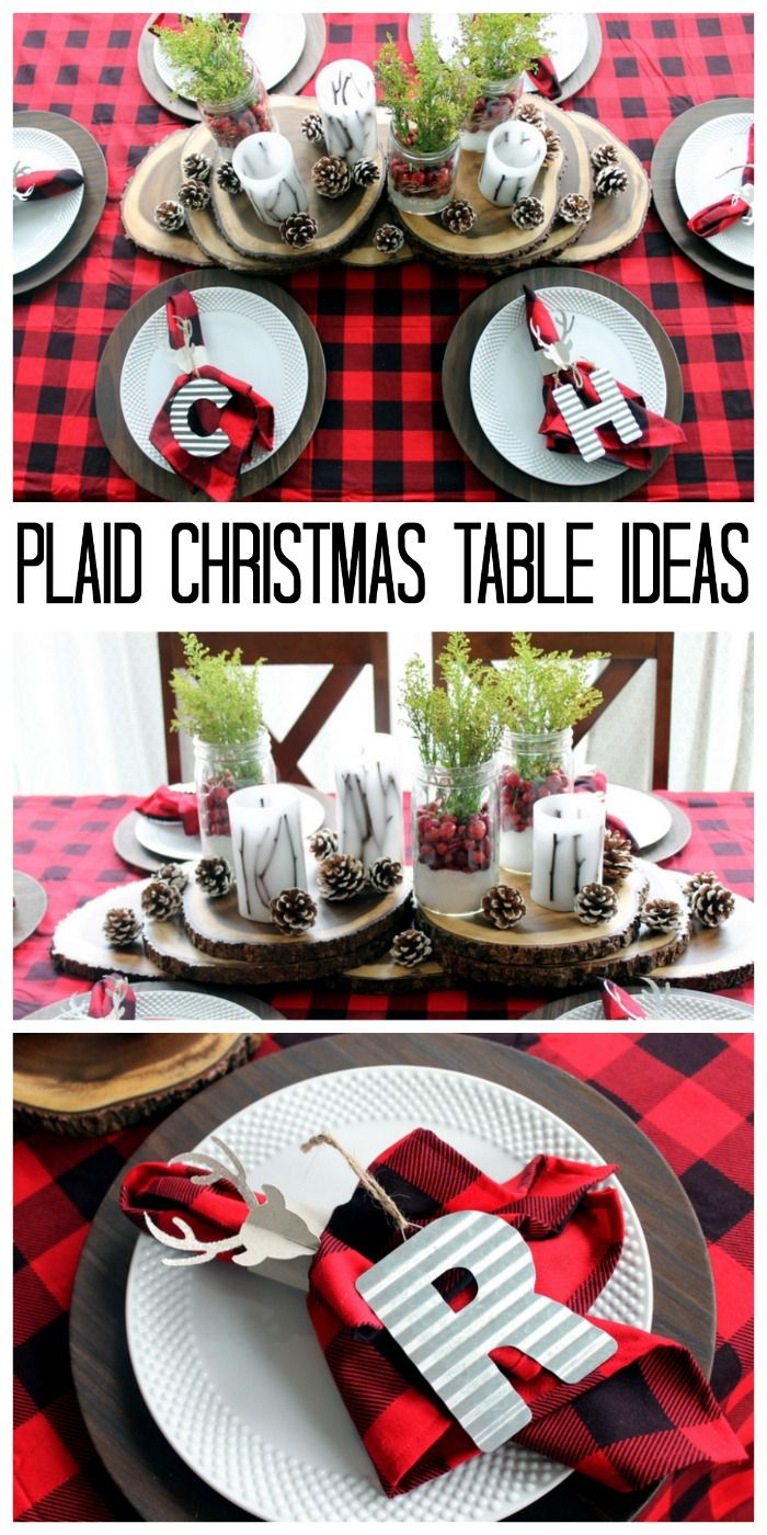 Best Tablescape Centerpiece Ideas Images On Pinterest - Christmas tartan table decoration
