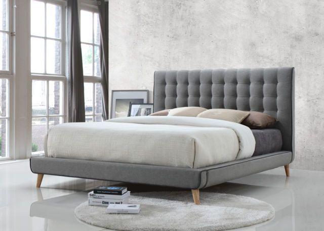 Scandinavian Design Designer Grey Kingsize Buttoned Bed   Mattress Options  In Home, Furniture U0026 DIY, Furniture, Beds U0026 Mattresses