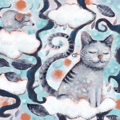 en el cielo de los gatos, ilustración de Elisabeth Zartl