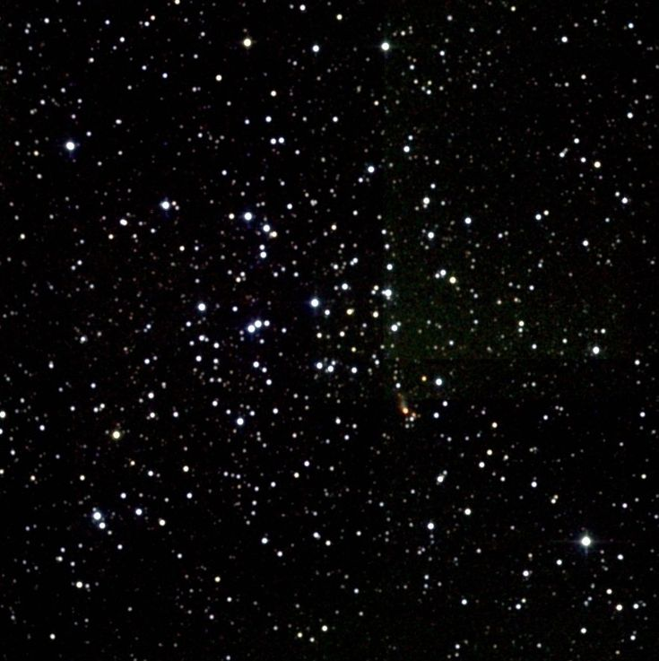 Messier 36 (also known as Open Cluster M36, Messier Object 36, Messier 36,M36, or NGC 1960) is an open cluster in the Auriga constellation. It is about 4,100 light years away from Earth and is about 14 light years across. There are at least sixty members in the cluster. The cluster is very similar to the Pleiades cluster (M45), and if it were the same distance from Earth it would be of similar magnitude.