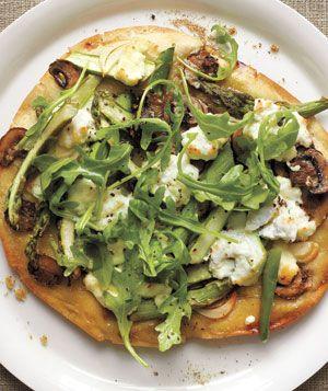 Asparagus ricotta pizza